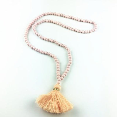 Long Wooden Necklace with Tassel Pendant | Boho-Chic | Hippie Style