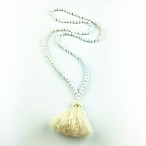 Image of  Ibiza Boho Style 💫 Long Wooden Necklace with Tassel Pendant
