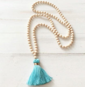 Ibiza Boho Style 💫 Long Wooden Necklace with Tassel Pendant