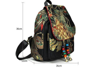 Backpack Embroidery Peacock Phoenix | Boho-Chic | Hippie Style