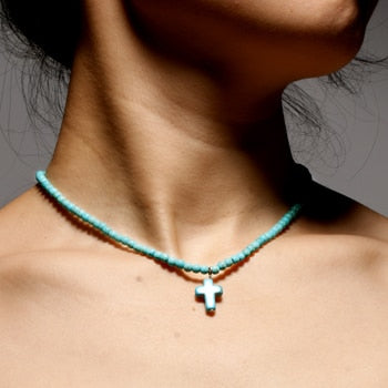Natural stone cross pendant necklaces | Boho-Chic | Hippie Style