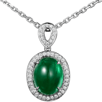 White gold pendant with natural emerald stone | Boho-Chic | Hippie Style
