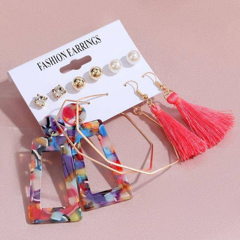 Image of  Ibiza Boho Style 💫 6 pairs / set Acrylic earrings
