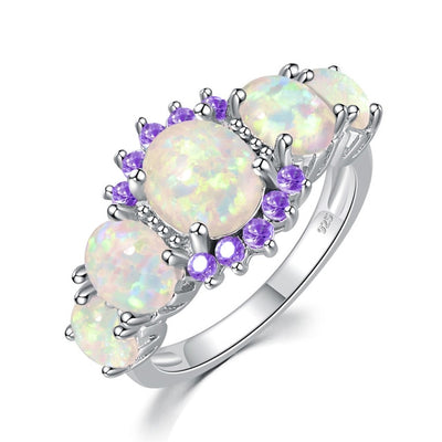 White Fire Opal Round Stone Ring | Boho-Chic | Hippie Style