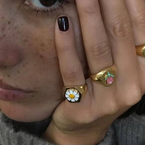 Image of  Ibiza Boho Style 💫 Metal rings with daisies