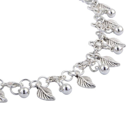 Chithunzi cha Silver Plated Leaf Anklet