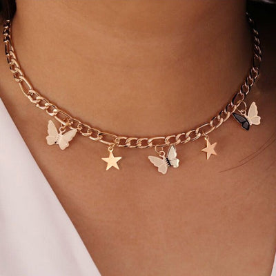Gold and Silver Color Butterfly Choker | Boho-Chic | Hippie Style