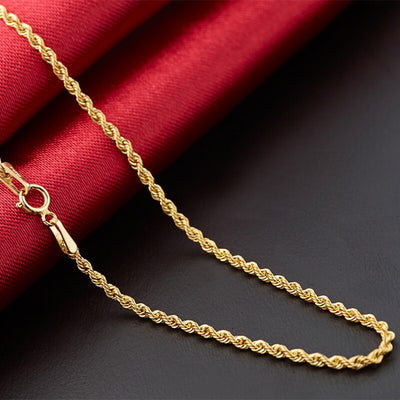 Pure Gold Chain Necklace | Boho-Chic | Hippie Style