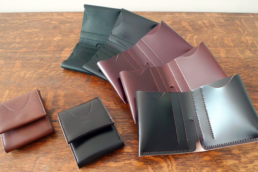brujula new york shell cordovan bi-fold wallets black burgundy handmade in new york usa