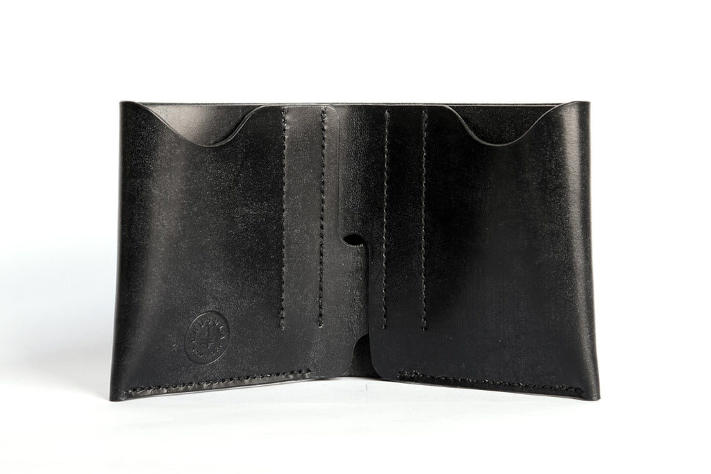 One Piece J&E Sedgwick English Bridle Leather Bifold Wallet Black Inside