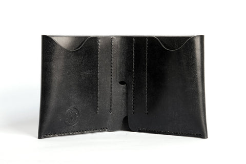 One Piece English Bridle Leather Bifold Wallet (Black - J&E Sedgwick & Co)