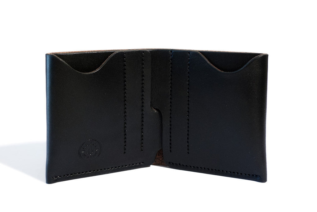 One Piece English Bridle Leather Bifold Wallet Black Inside