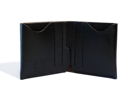 One Piece English Bridle Leather Bifold Wallet (Black)