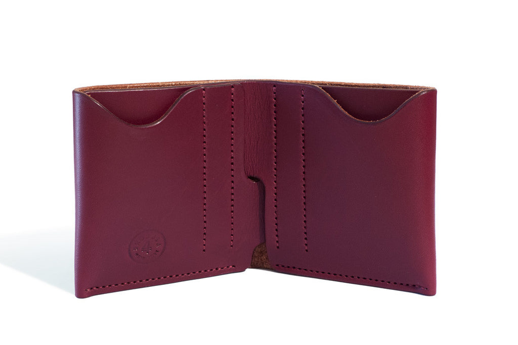 One Piece English Bridle Leather Bifold Wallet Burgundy Inside