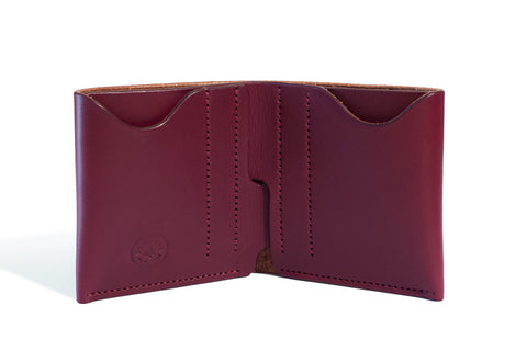One Piece English Bridle Leather Bifold Wallet (Burgundy)