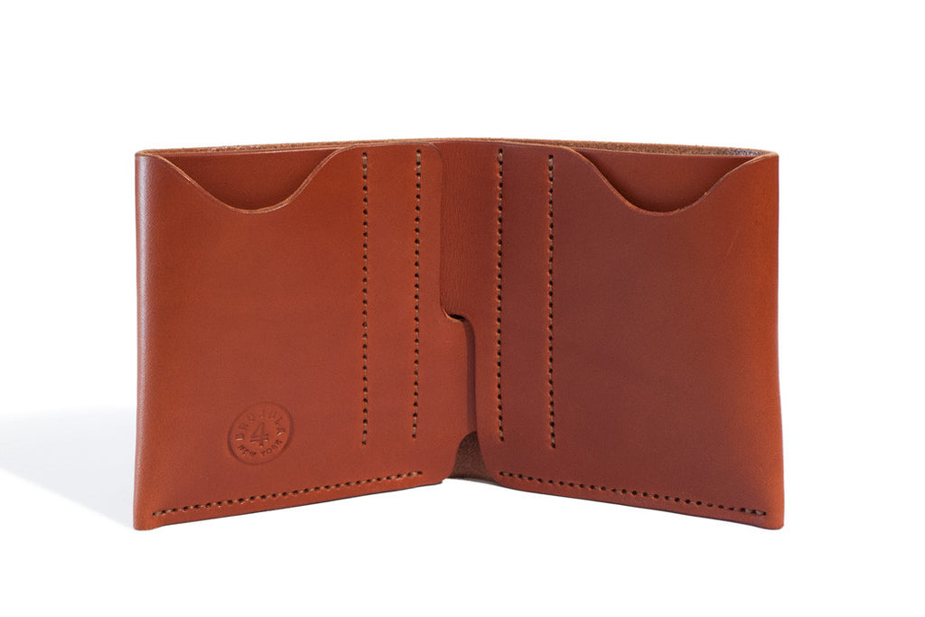 One Piece English Bridle Leather Bifold Wallet Chestnut Inside