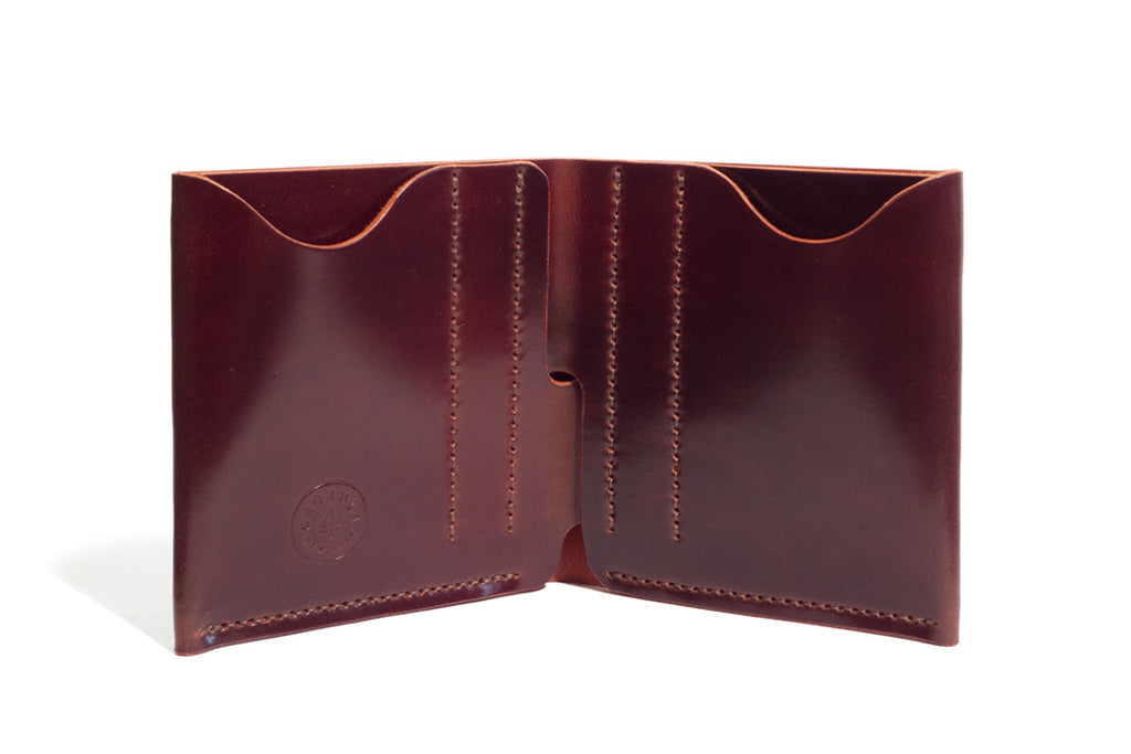 One Piece Shell Cordovan Leather Bifold Wallet Oil Antique Inside