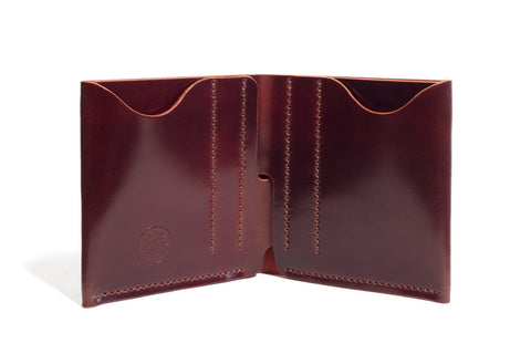 One Piece Shell Cordovan Leather Bifold Wallet - (Oil Glazing Antique)