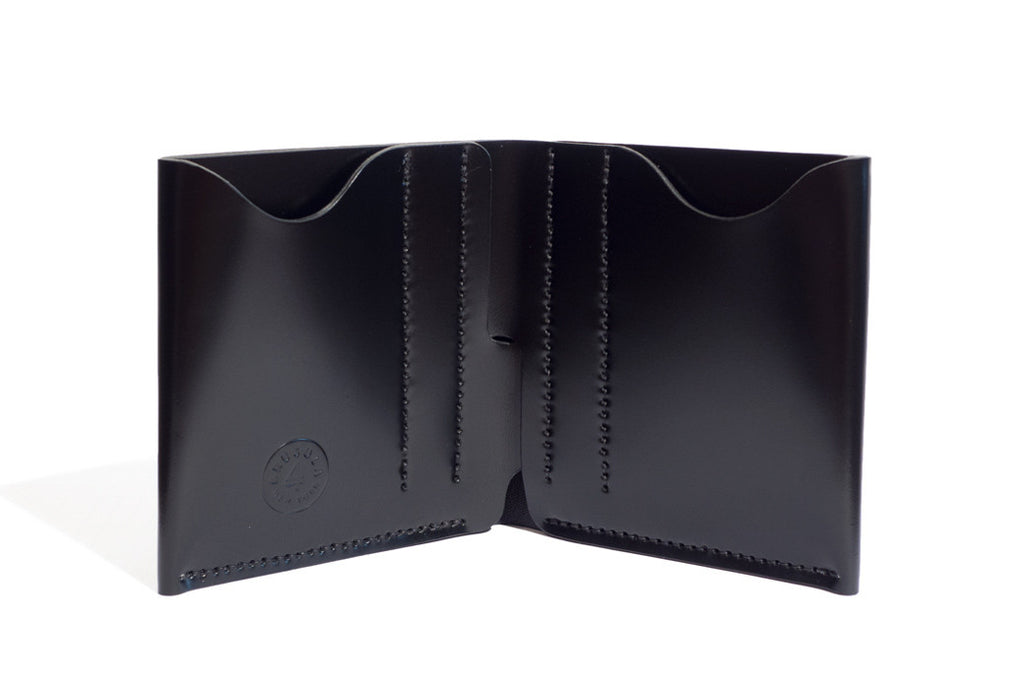One Piece Shell Cordovan Leather Bifold Wallet Black Inside