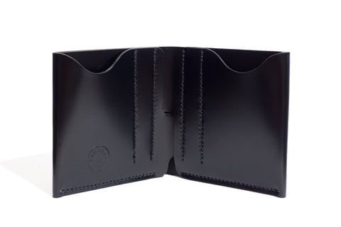 One Piece Shell Cordovan Leather Bifold Wallet - (Black)