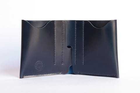 One Piece Shell Cordovan Leather Bifold Wallet - (Oil Glazing Navy)
