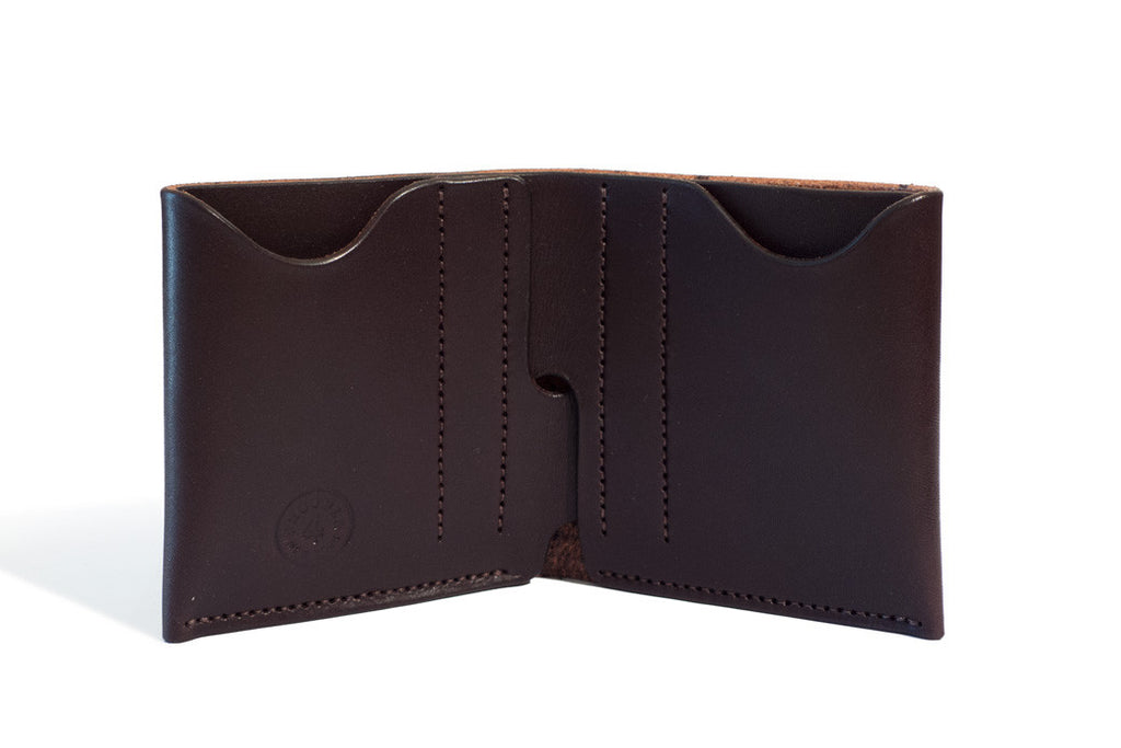 One Piece English Bridle Leather Bifold Wallet Dark Brown Inside