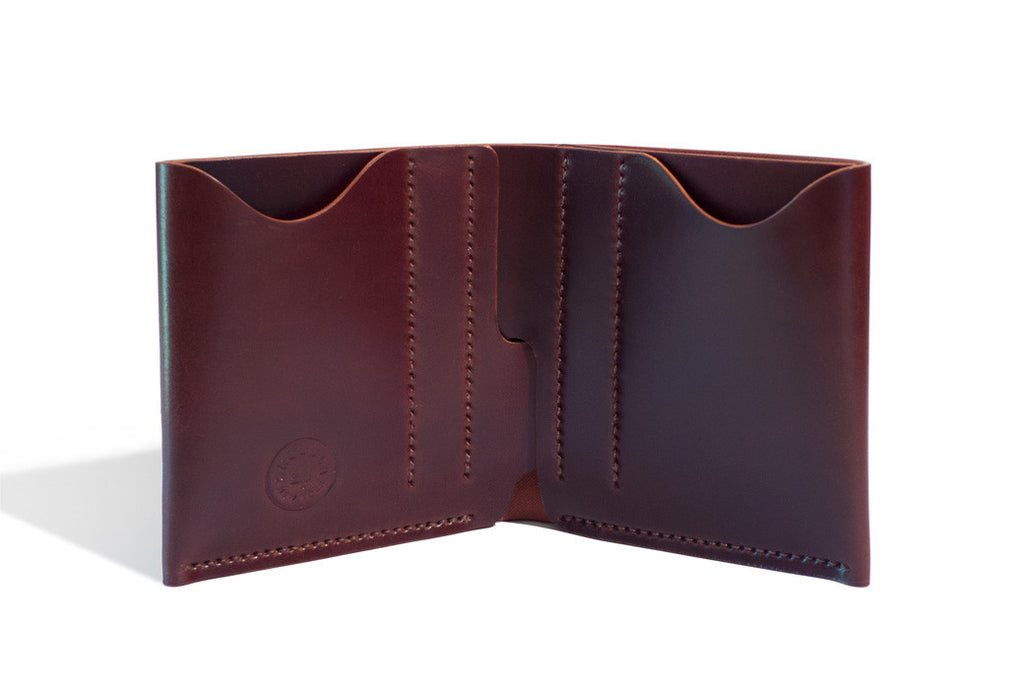 One Piece Shell Cordovan Leather Bifold Wallet Oil Burgundy Inside