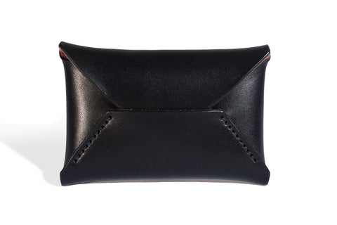 One Piece English Bridle Leather Business Card Case (Black)