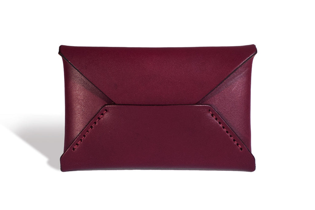 One Piece English Bridle Leather Business Card Case (Burgundy) Front