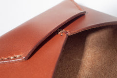One Piece English Bridle Leather Business Card Case (Chestnut) Close Up