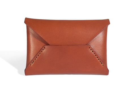 One Piece English Bridle Leather Business Card Case (Chestnut)