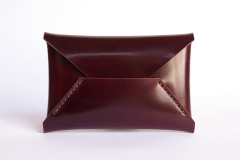 One Piece Shell Cordovan Leather Business Card Case (Oil Glazing Antique)