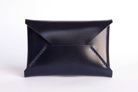 One Piece Shell Cordovan Leather Business Card Case (Navy)