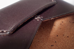 One Piece English Bridle Leather Business Card Case (Dark Brown) Close Up