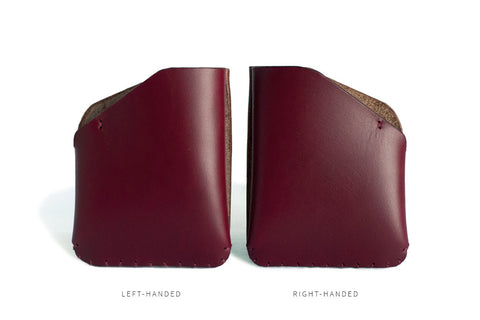 One Piece English Bridle Leather Card Slot Wallet (Burgundy: Right-Handed & Left-Handed)