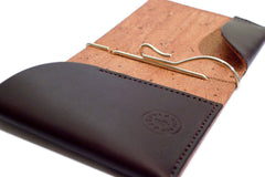 One Piece English Bridle Leather Money Clip Wallet Dark Brown Close up
