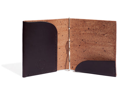 One Piece English Bridle Leather Money Clip Wallet (Dark Brown)