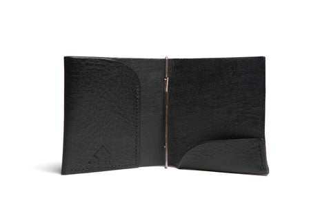 One Piece Leather Money Clip Wallet (Black)
