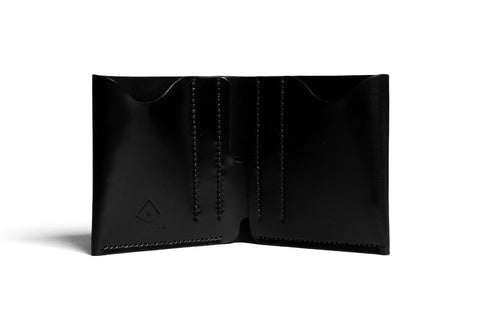 One Piece Shell Cordovan Leather Bifold Wallet - Features Brújula New York's Old Logo (Oil Glazing Black)
