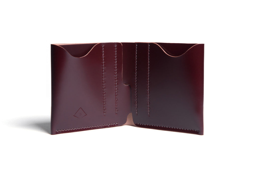 One Piece Shell Cordovan Leather Bifold Wallet Choco Inside