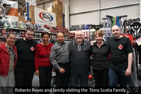 Roberto Reyes visiting team Torra Scotia with his family