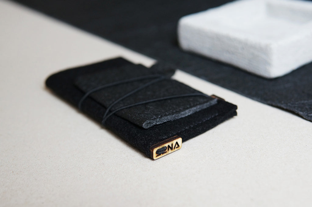 iPhone case with card pocket / black