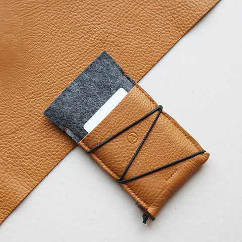 KORD leather and felt iPhone case / brown and dark grey