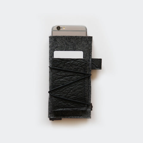iPhone case with card pocket / dark grey & black