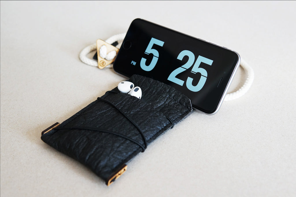 iPhone neck pouch with card pocket / black Pinatex