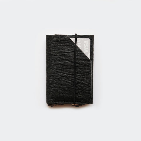 Slim card wallet / cardholder / black Pinatex