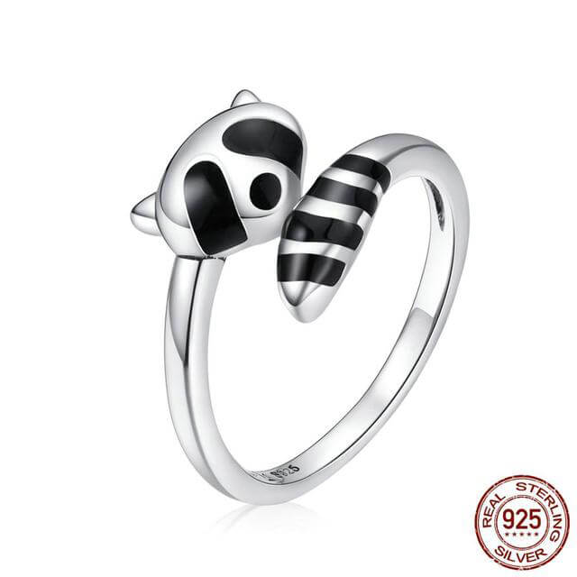 100% 925 Sterling Silver Open Adjustable Raccoon Ring