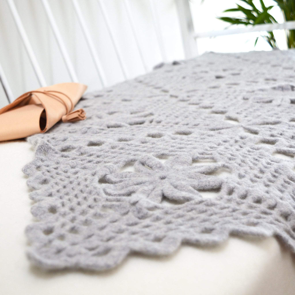 close up of finished lace throw crochet kit in grey