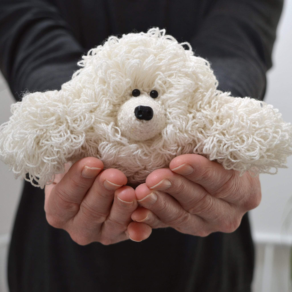 amigurumi poodle crochet kit, loop stitch crochet dog being held by man