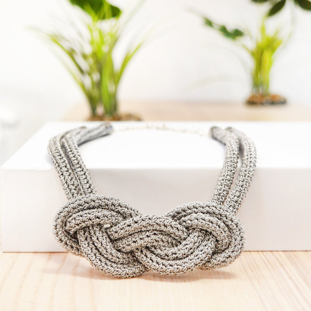 Real Silver Thread Knotted Crochet Necklace Kit